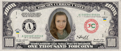 ShopO Leader: Collect the Fyodorova_from_Ukraine 1,000 JobCoin Note