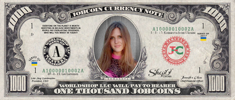 ShopO Leader:  Collect the Komarova_from_Ukraine 1,000 JobCoin™ Note