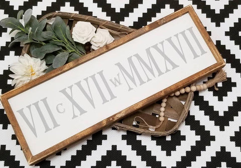 Roman numeral date sign, Roman numeral sign wood, wedding date sign, important date sign, birthdate sign, anniversary sign, minimalist decor