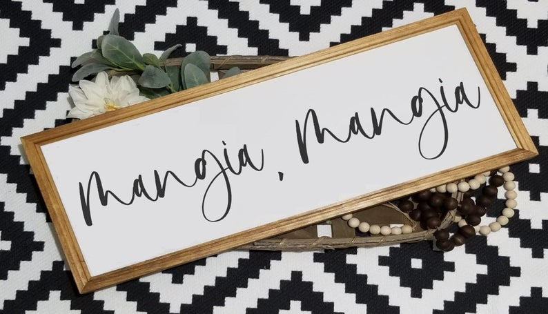 Mangia, Mangia large wood sign, framed wood sign, kitchen sign, Italian sign, farmhouse sign, Tuscan decor, signs for kitchen, wood eat sign