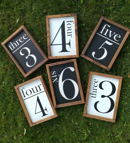 Family number sign, Wood Number Sign, house number sign, Family Size Sign,  Number Sign, Gallery Wall Sign, Flash Card sign