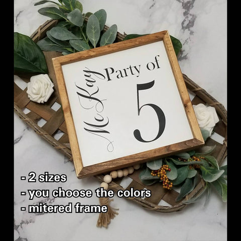 Party of Family sign, Party of six sign, custom family name, last name sign, Family Number sign, Farmhouse signs, Party of number sign