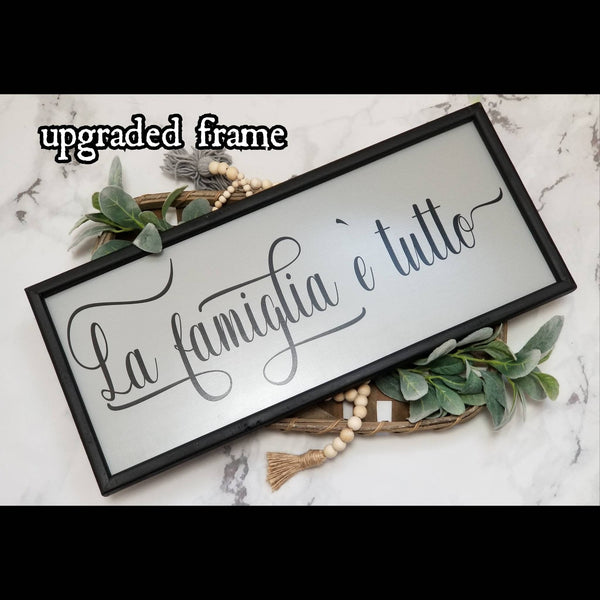 La famiglia sign, family is everything sign