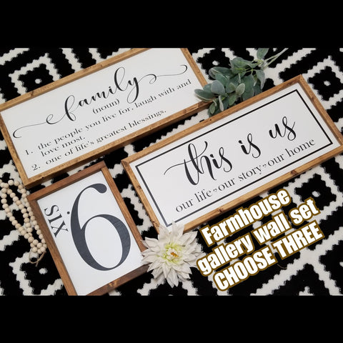 Farmhouse sign set of 3, farmhouse sign bundle, this is us, party of sign, number sign, farmhouse sign, home definition sign, family sign