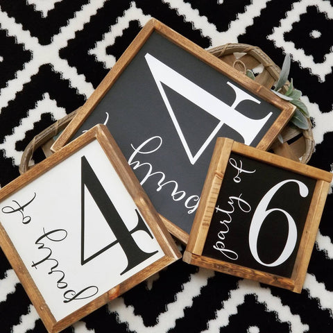 Party Of family sign, Family number sign, number sign, Family Size Sign, Farmhouse Number Sign, Gallery Wall Sign, Party of sign, 2 sizes