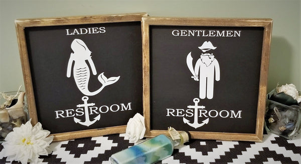 Mermaid pirate restroom sign, restroom sign, mermaid sign, nautical decor Sign, funny bathroom sign, farmhouse sign, bathroom decor