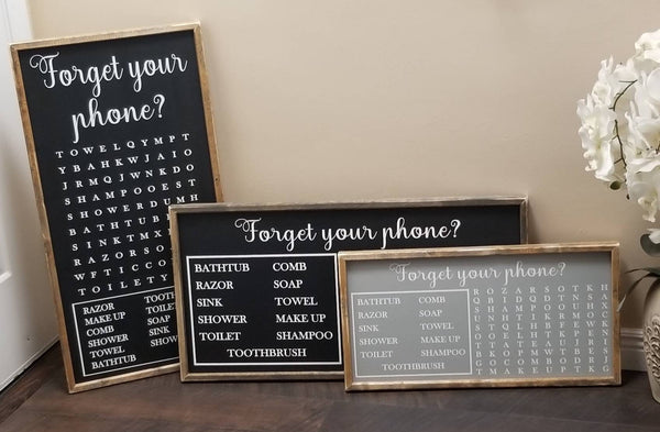 Forget your phone word search sign horizontal
