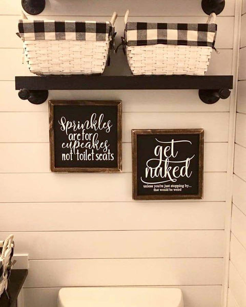 Get naked bathroom sign