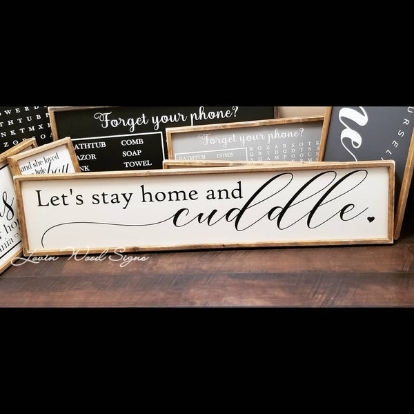 We should probably cuddle sign, let's stay home sign, over the bed sign, master bedroom decor, farmhouse, master bedroom sign, cuddle sign