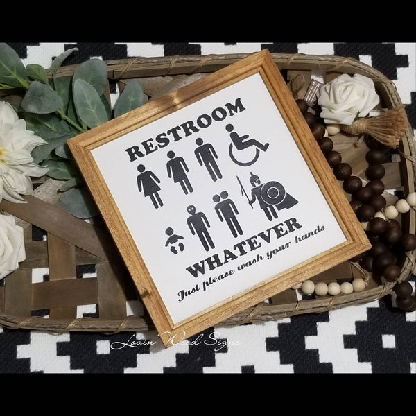Restroom sign, funny bathroom sign, fixer upper style, all gender bathroom sign, alien restroom sign, ADA compliant sign, signs for bathroom