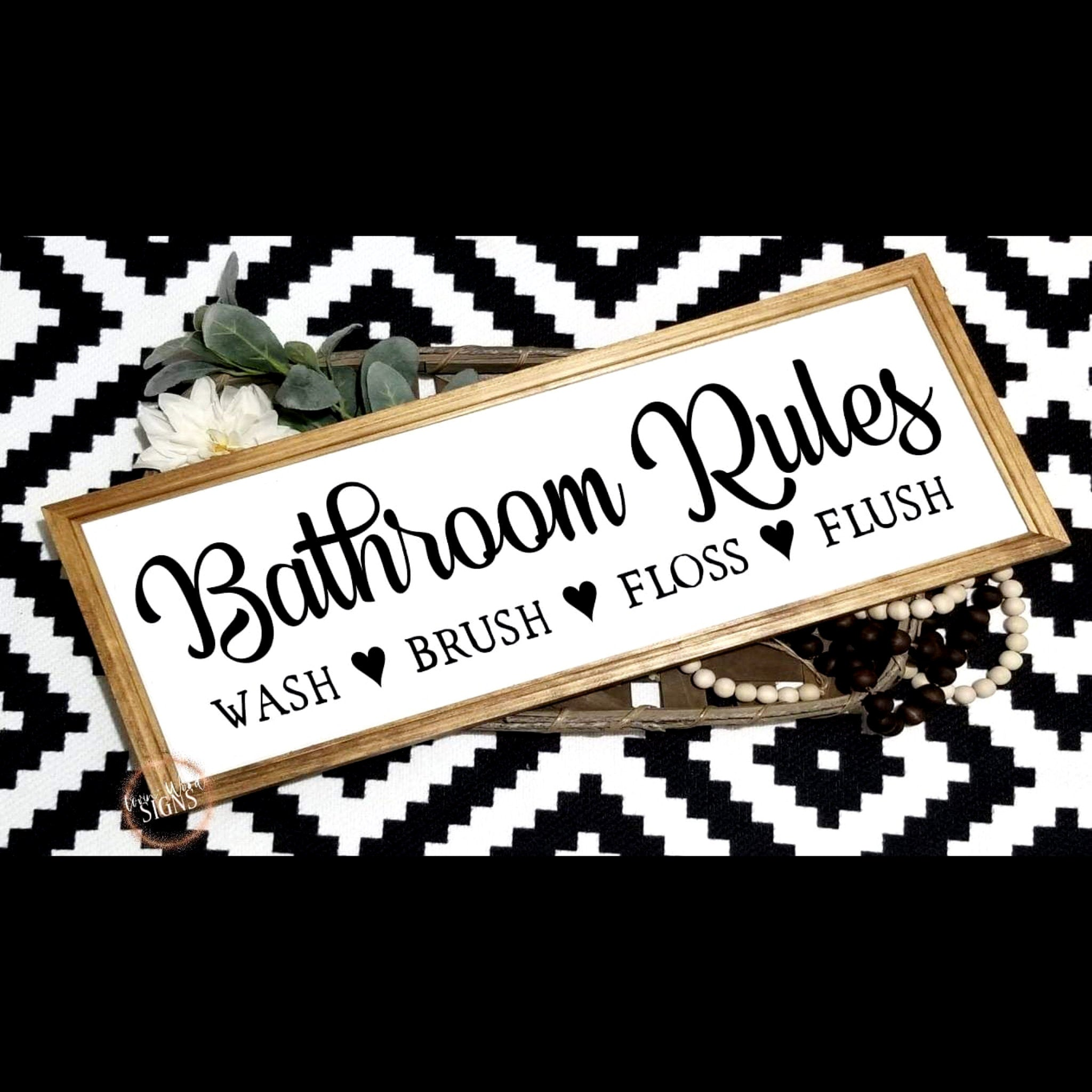 Bathroom rules sign horizontal