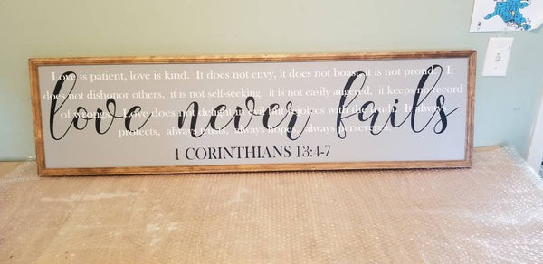 Corinthians sign | love is patient, love is kind,  above the bed sign