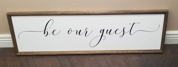 Wood signs, be our guest wood sign, guest room decor, over the bed sign, bedroom sign, bedroom decor, guest room wall decor, farmhouse decor