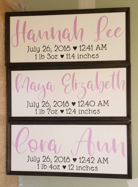Birth stats sign, nursery name sign