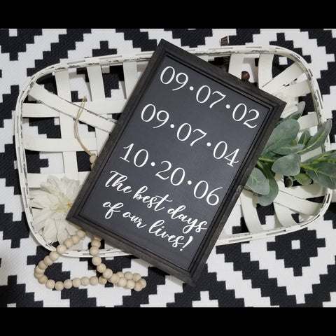 Important dates sign, family dates sign, special dates sign, best days of our lives sign, this is us sign, anniversary dates sign