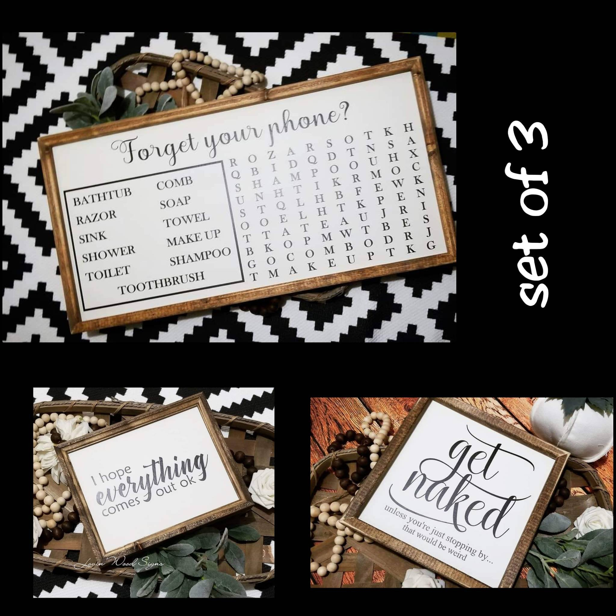 Funny bathroom sign set of 3, bathroom sign bundle