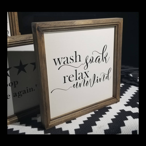 wash relax soak sign, bathroom sign, bathroom decor, master bath, master bathroom decor, wash relax soak unwind sign, signs for bathroom