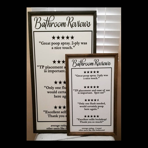 Bathroom reviews sign