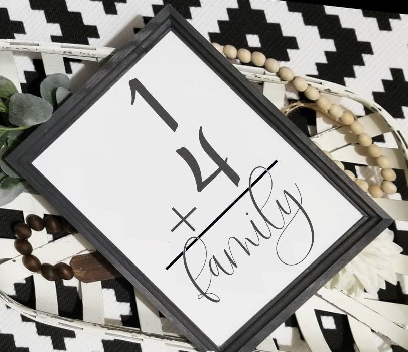 Family number sign, flash card sign