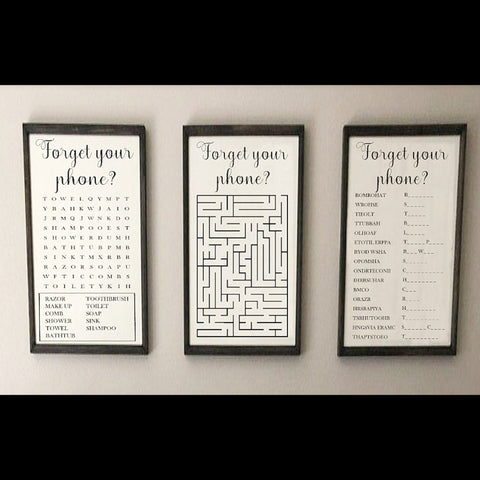 Forget your phone sign, set of 3, word search, scramble AND maze