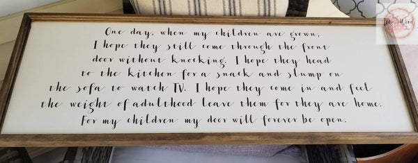 One day when my children are grown sign, living room decor, signs for the home, motherhood sign, mothers day gift, farmhouse decor