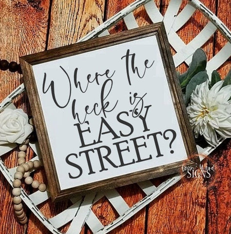 Funny office decor, Easy street sign, funny signs, office decor, funny office sign, farmhouse decor, inspirational sign, office wall art