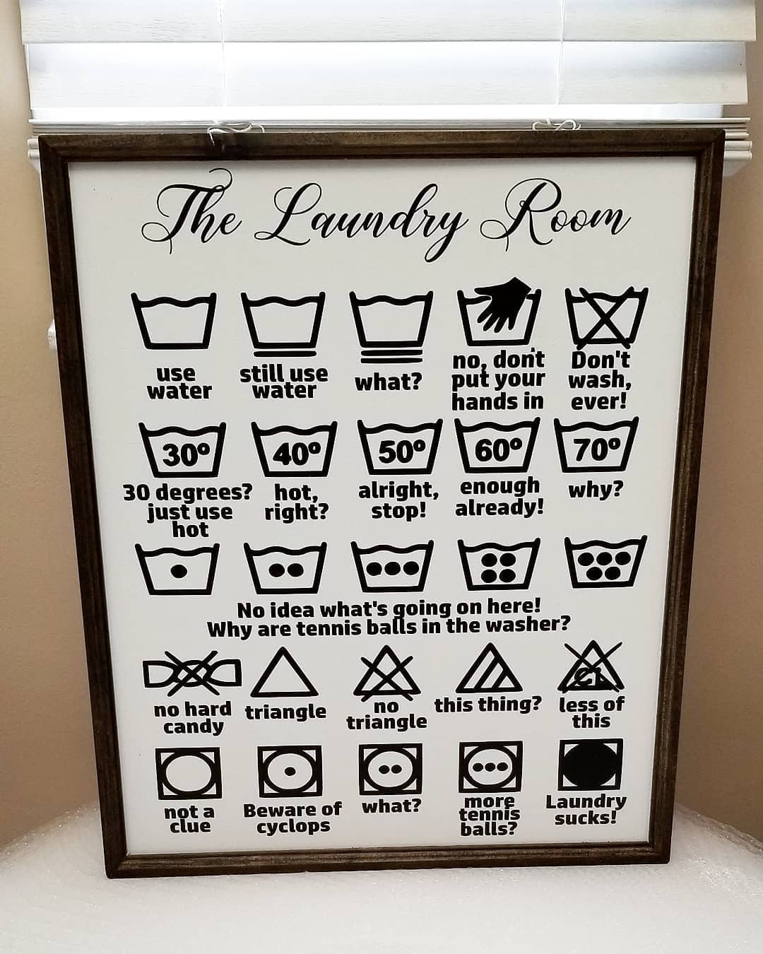 Laundry symbols sign, funny laundry room sign, laundry room decor, mudroom decor, laundry sucks sign, funny laundry symbols, farmhouse sign