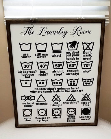 Laundry symbols sign, funny laundry room sign