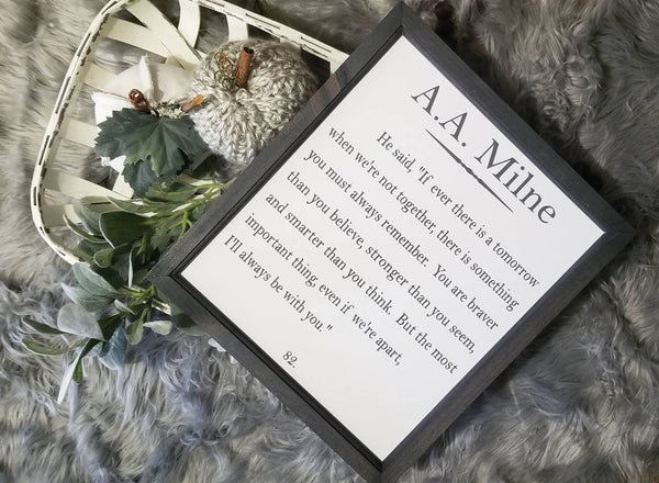 You are stronger than you think sign, Winnie the pooh sign, nursery decor, book quote, A.A. Milne, nursery sign, stronger braver smarter