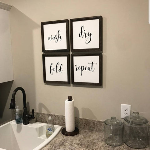 wash dry fold repeat signs, set of four signs, laundry sign, laundry decor, mudroom decor, laundry room sign, farmhouse sign set