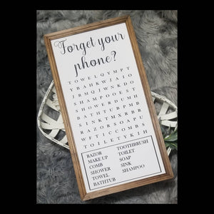 Forget your phone word search sign, vertical