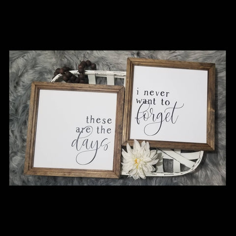 These are the days I never want to forget, set of 2, these are the days sign, farmhouse sign set, over the bed sign, master bedroom decor