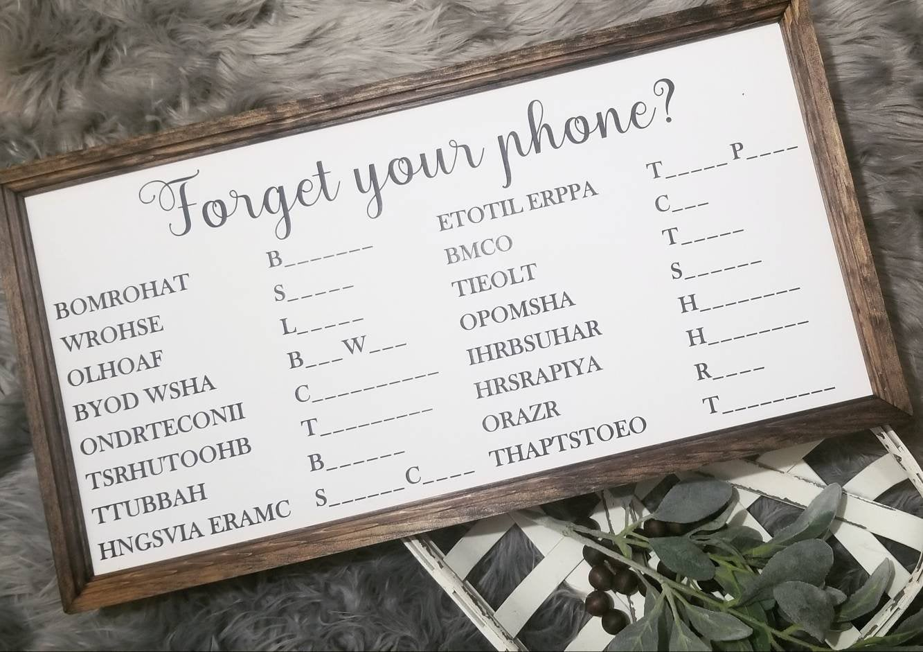 Forget your phone scramble sign horizontal