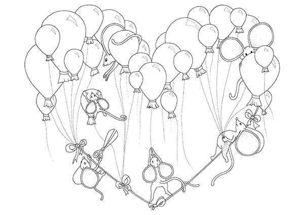 Mouse Party with Balloons