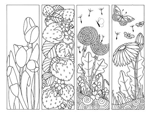 Flowers and Strawberries Bookmarks