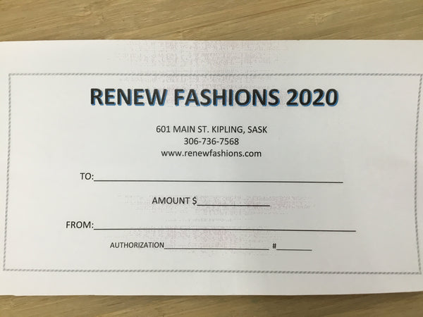 Gift certificate for Renew Fashions