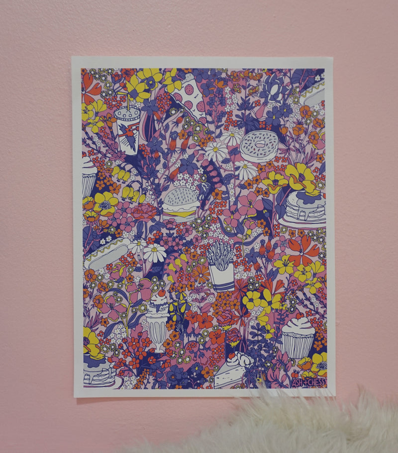 Food Floral Technicolor Art Print