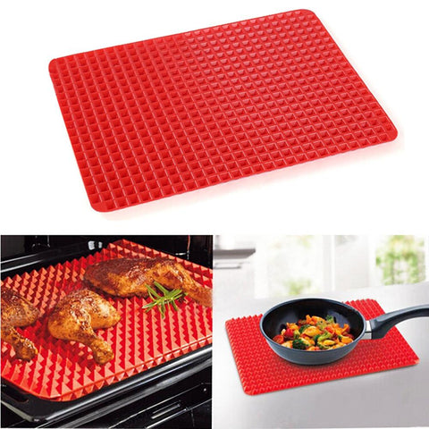[ Best ] - Non Stick Silicone BBQ Pyramid Pan Fat Reducing Slip Oven Baking Barbecue Charcoal Grill Oil Filter Pad Tray Sheet Cooking Mat