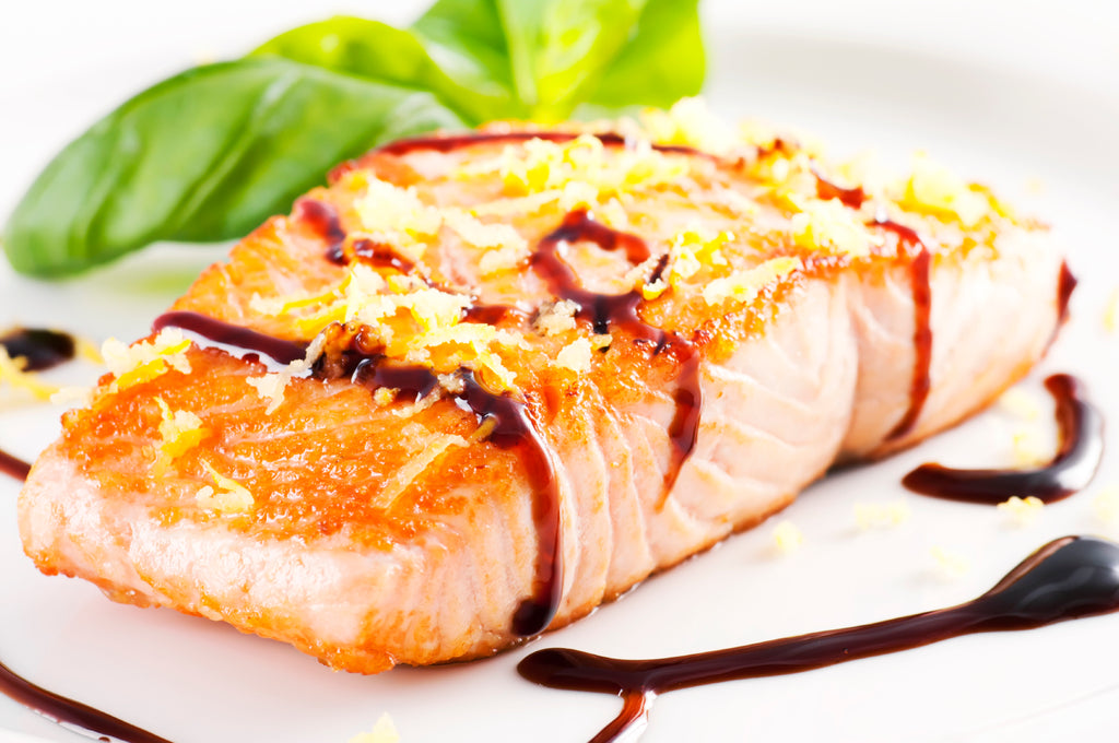 Jomeis Balsamic reduction drizzled on Salmon