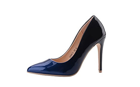 Women Patent Contrast Color Pointed Toe Pumps Stilettos Heel