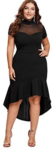 Women's Plus Size Mesh Frill Round Neck Ruffle Pencil Party Dress