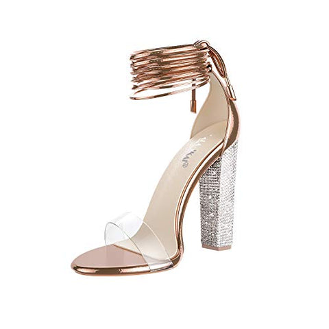 Women's Gold High Heels Sandals with Rhinestone Ankle Strappy Clear Chunky Heels