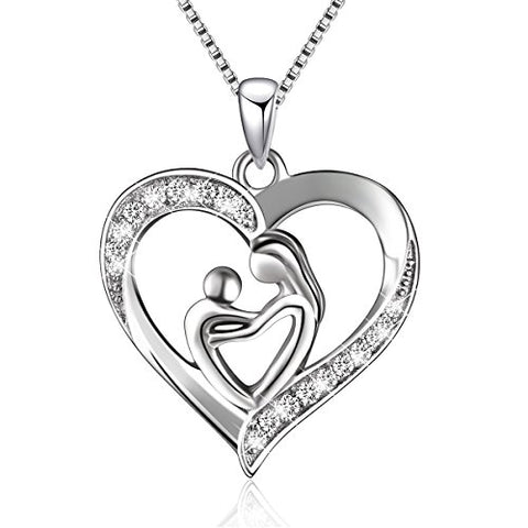 Sterling Silver Mother and Child Love Heart Pendant Necklace