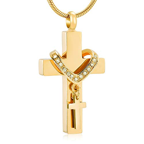 Men`s Stainless Steel Cross Memorial Cremation Ashes Urn Pendant Necklace