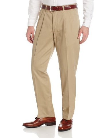 Men's No Iron Relaxed Fit Pleated Pant