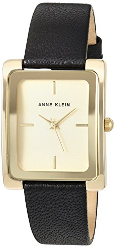 Women's  Gold-Tone and Black Leather Strap Watch