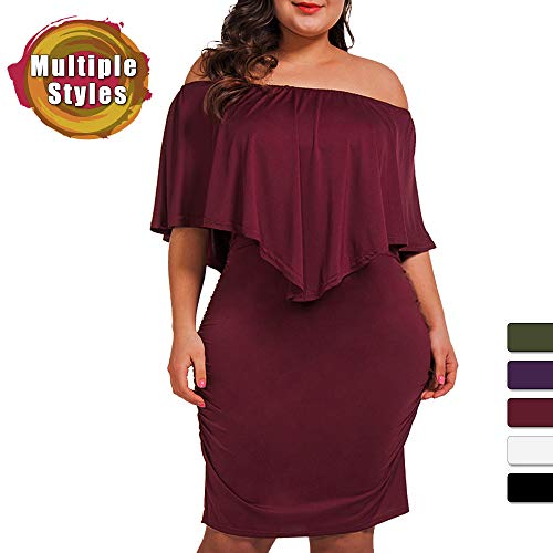 Women's Off Shoulder Plus Size Dresses Ruffles Bodycon Mini Dress
