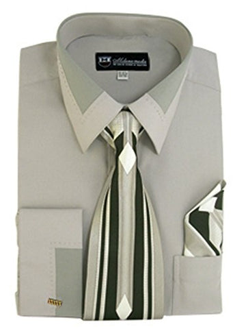 Men's Fashion Dress Shirt With Contrast Design Tie Hankie & Cuff