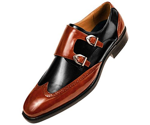 Mens Smooth Faux Leather Double Monk Strap Formal Tuxedo Oxford Wingtip Dress Shoe