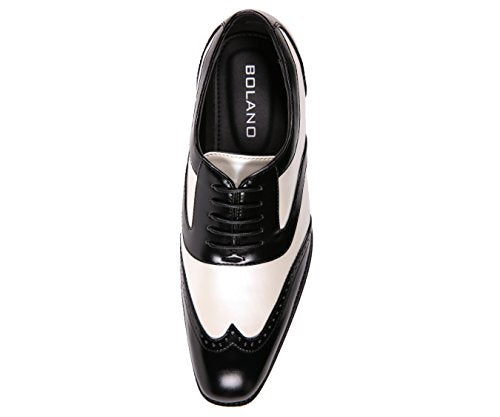 Men's Two-Tone Metallic Black Smooth Lace up Oxford Dress Shoe, Wingtip Spectator